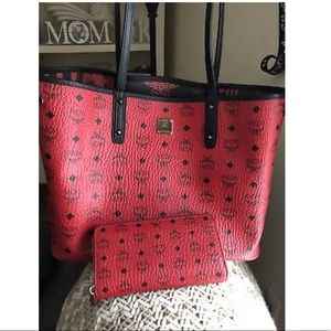 MCM Reversible red tote and wallet